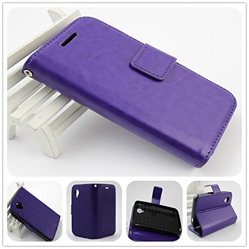For BLU Dash Music II D330 PERFECT FIT Luxury Leather Wallet Case with ID Showing Window (Purple)