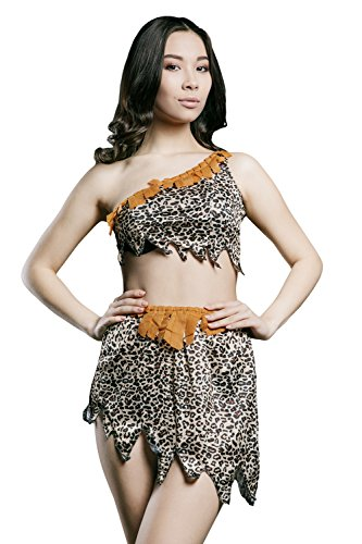 [Adult Women Sexy Cavewoman Halloween Costume Leopard Cheetah Dress Up & Role Play (One size fits most, brown,] (Sexy Halloween Dress Up)