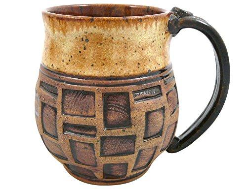 American Mug African (American-made Earthy Terrain Carved Pottery Mug, 16-ounce (Sahara Sand))