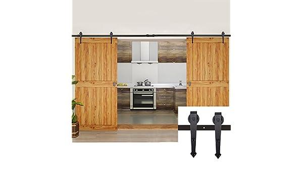 nosotros Stock) 12 ft Negro deslizante doble puerta de madera Hardware armario interior puerta corrediza de madera armario deslizante pista Kit moderno estilo antiguo: Amazon.es: Bricolaje y herramientas