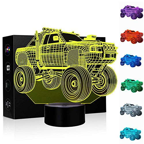 Car Gifts Night Lights for Kids Birthday Gifts SUV 3D Illusion Lamp Optical Desk Table Touch Nursery Party Western Children Bedroom Decor 7 Color Change USB Crackle Toy for Boys Room and Baby