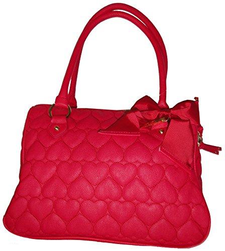 Betsey Johnson Purse Handbag Be Mine East/West Satchel Fuchsia (Johnson Hobo Betsey)