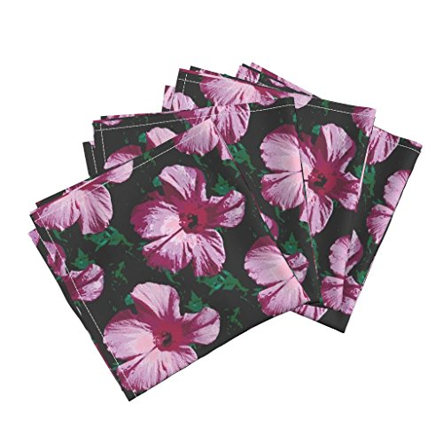 Roostery Hawaii Leaf Flower Fuchsia Pinks Pink Psarah Organic Sateen Dinner Napkins Fleurries by Peacoquettedesigns Set of 4 Dinner Napkins by Roostery