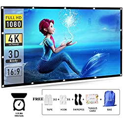 120 Projector Screen 16:9 HD efnik 7 Brand Portable Projection Screen Foldable Anti-Crease for Home Cinema Theater and Outdoor Movie Screen Support Rear Projection (with Bag), Thicker Material
