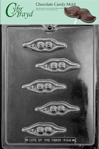 Cybrtrayd Life of the Party F111 Two Peas in a Pod Vegetables Chocolate Candy Mold in Sealed Protective Poly Bag Imprinted with Copyrighted Cybrtrayd Molding Instructions