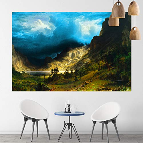 Albert Bierstadt - A Storm in the Rocky Mountains, Mt. Rosalie 1866 - Canvas Wall Art - Wall Decor - Framed Ready to Hang - Replica Canvas - Historical Canvas - Fine Art (Medium (70x50cm) 27x19