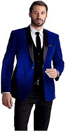 Amazon.com: Mens Velvet Jacket Groom Suit Shawl Lapel