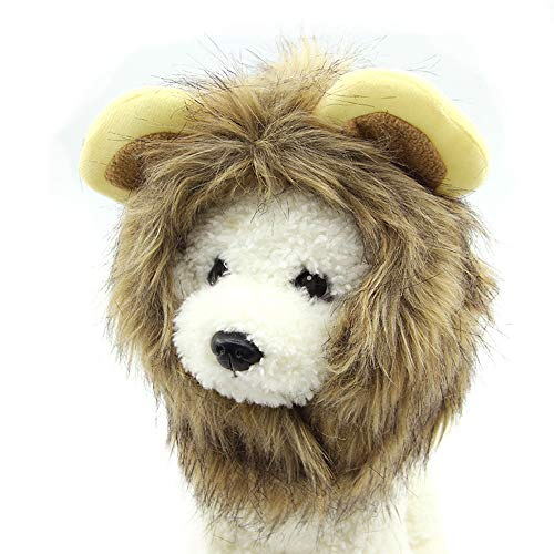 THE MIMI'S Pet Costume Lion Mane Wig for Dog Cat Halloween Christmas Easter Festival Party Activity (L 38cm)