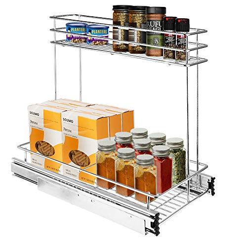 Secura Pull Out Cabinet Organizer, Professional Kitchen and Bathroom Sink Cabinet Organizer with 2-Tier Sliding Out Shelves 9.6 Inches W x 18 Inches D x 16.3 Inches H ()
