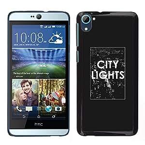 Luces de la ciudad Texto Negro Cartel Nyc Blanca - Metal de aluminio y de plástico duro Caja del teléfono - Negro - HTC Desire D826