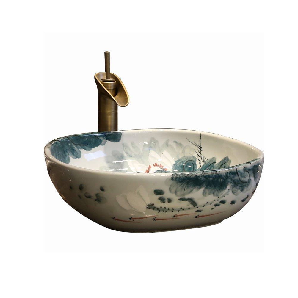42x42x15cm Bathtub LUYIASI Vintage Art Above Counter Basin Bathroom Ceramic Wash Basin Chinese Square Basin Countertop Wash Basin