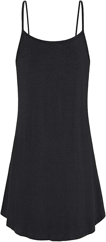 Closhion Womens Sleeveless Strap Dresses Casual A Line Mini Dress Black