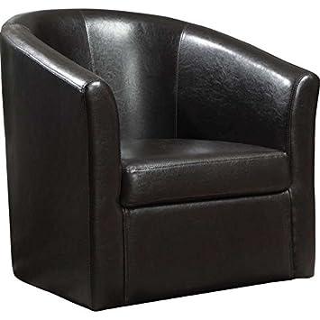 Coaster Home Furnishings Modern Transitional Barrel Back Tub Club Arm Swivel  Accent Chair   Dark Brown