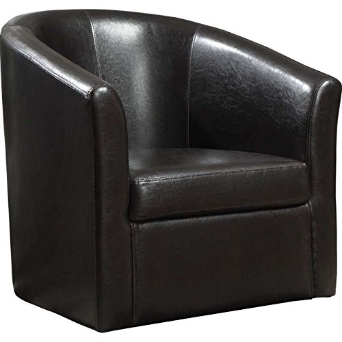 Coaster Home Furnishings Modern Transitional Barrel Back Tub Club Arm  Swivel Accent Chair   Dark Brown Faux Leather