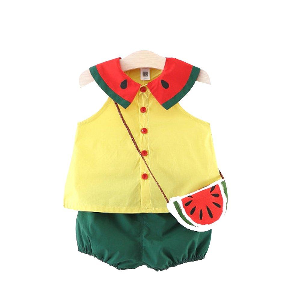 Cimeiee Little Girls Short Watermelon Shirt and Shorts Set Sleeveless Summer with Bag