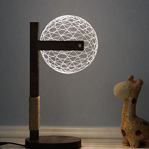 XUAN Stereoscopic Visual Creative Lamp Creative Gift 3D Table Lamp Solid Wood Night Light LED Night Light (Style : A) (Pillar Style Table Lamp)