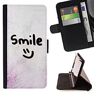 - smile motivational smiley emoticon - - Prima caja de la PU billetera de cuero con ranuras para tarjetas, efectivo desmontable correa para l Funny HouseFOR Apple Iphone 6 PLUS 5.5