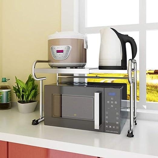 WYJW 2 Niveles Cocina Microondas Estante Horno Rejilla Piso de pie ...