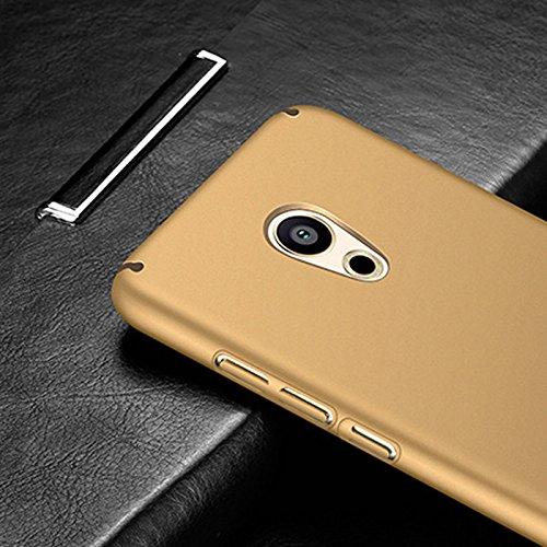 Funda Meizu Pro 6 Plus, Caso con [Protector de Pantalla de Cristal Templado] [Ultra-Delgado] [Ligera] Anti-Rasguño y Anti-Huellas Dactilares Totalmente Protectora Estuche de Plástico Duro -Rojo Oro