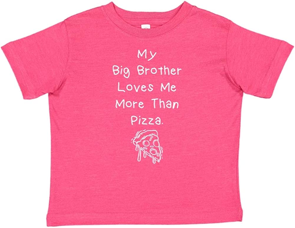 Toddler//Kids Short Sleeve T-Shirt My Big Brother Loves Me More Than Pizza
