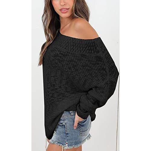 00377e6871029 UGET Women s Oversized Off Shoulder Batwing Sleeve Knit Loose Pullover  Sweater Tops