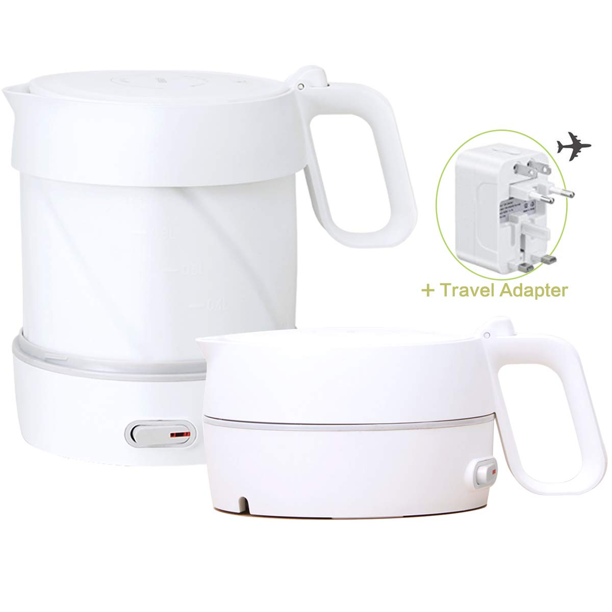 HOMYHOME Travel Foldable Electric Kettle – Fast Water Boiling – Food Grade Silicone – Small, Collapsible, Portable – Boil Dry Protection – 1 Liter 1.8 Quart – 110 220v – White