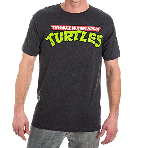 Teenage Mutant Ninja Turtles Logo Men's Gray Washed (Ninja Turtles Logo T-shirt)
