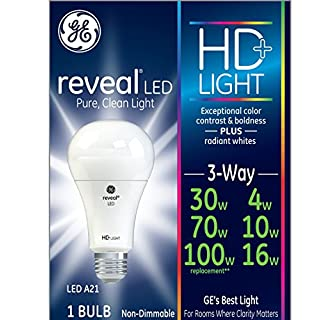 GE Lighting Reveal HD LED 3-Way 16-watt (100-watt Replacement), 1140-Lumen 3-Way Light Bulb with Medium Base, 1-Pack