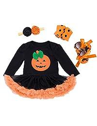 Kanodan Baby Girls Halloween Costume 4PCS Tutu Dress Outfit Pumpkin Face