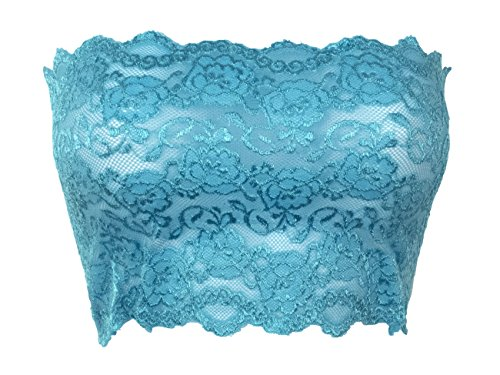 Ally Rose Topper Stretch Lace Camisole Bandeau Tube Top 8 Inches Long Turquoise M