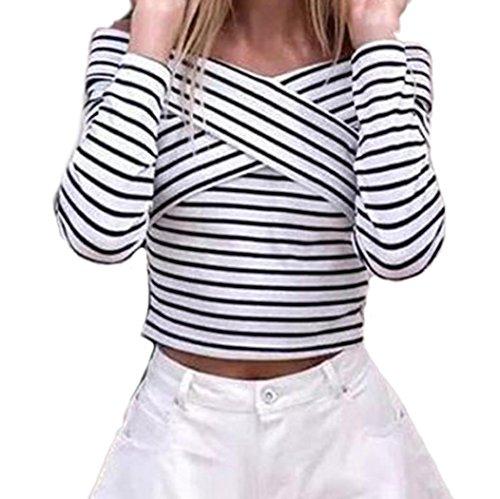 [해외]Kimloog 여성용 긴 소매 스트라이프 프린트 크로스 프론트 T 셔츠 블라우스 V 넥 슬림 숏 탑/Kimloog Women`s Long Sleeve Stripe Print Cross Front T Shirt Blouse V Neck Slim Short Tops