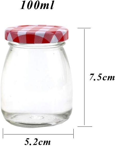 100 ml Danmu Art Juego de 6 tarros de cristal con tap/ón de corcho tama/ño peque/ño para guardar yogur o pud/ín