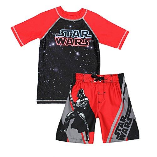 Star Wars Boys Swim Trunks and Rash Guard Swimsuit Set (7, Red/Black) (Trunks Swim Children)