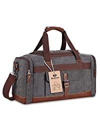 Overnight canvas duffel bag leather travel bag unisex gym bag (Big size grey)