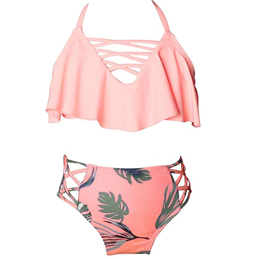 fee2b3658a70 Amazon.com: Toddler Baby Girls Swimsuits Bathing Suit 2-6 Years Old Kids  Summer Floral Print Two Piece Bikini Set Swimwear: Clothing