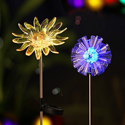 - BRIGHT ZEAL [Set of 2] LED Color Changing Solar Stake Lights Outdoor - Solar Light LED Garden Decor Statues (Sunflower, Dandelion) - Patio Lights LED Outdoor Multicolor Changing LED Lights