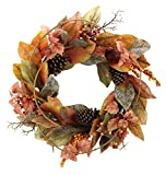 """Admired By Nature GFW7014-Natural 24"""" Faux Magnolia Leaf Vine Pinecones Berry Wreath"""