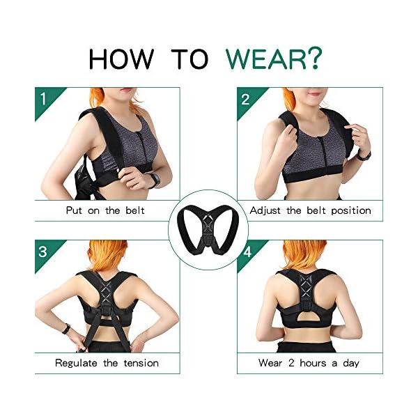 Correcteur de posture – Ouzigrt Correcteur de posture élastique réglable pour homme ou femme – Soutien dorsal et…