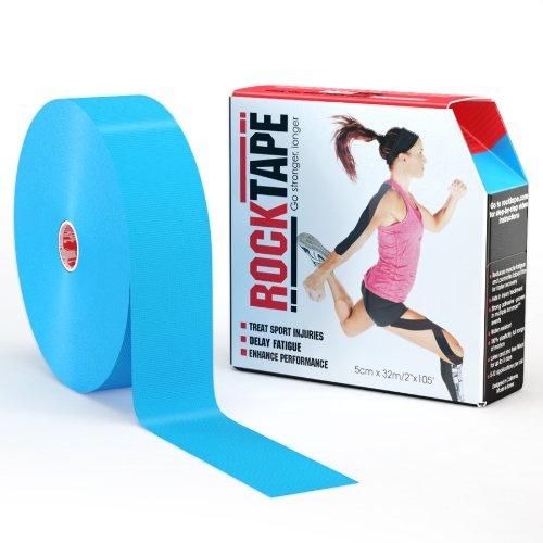 RockTape Uncut BULK Kinesiology Tape For Athletes - 2'' X 105' Roll - Light Blue