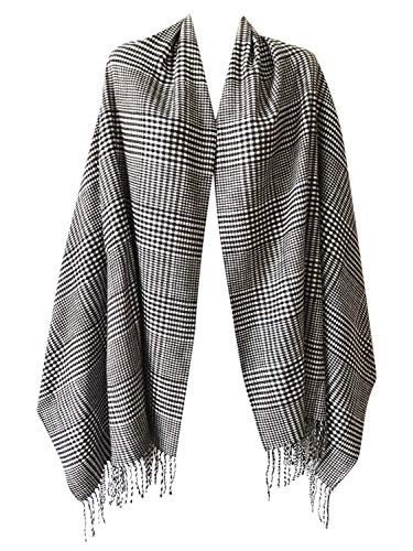 2 PLY 100% Cashmere Scarf BLANKET Collection Made in Scotland Wool Solid Plaid (White Black Houndstooth 9-17)