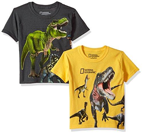 National Geographics Little Boys' Dinosaur Wrap 2-Pack Short Sleeve T-Shirt, Charcoal/Yellow, ()