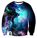 ADREAMONE Collage 3d Nebula Star Cluster Pullover Sweatshirt Cool Long Sleeve Shirt