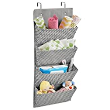 mDesign Chevron Over the Door - Wall Mount - Baby Toddler Kids Clothing Toy Organizer