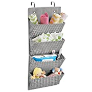 mDesign Chevron Wall Mount/Over Door Fabric Closet Storage Organizer for Toys, Baby/Kids Clothing - 4 Pockets, Gray/Cream