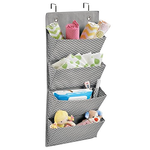 Amazon.com: mDesign Chevron Wall Mount/Over Door Fabric Closet Storage Organizer for Toys, Baby/Kids Clothing - 4 Pockets, Gray/Cream: Home & Kitchen