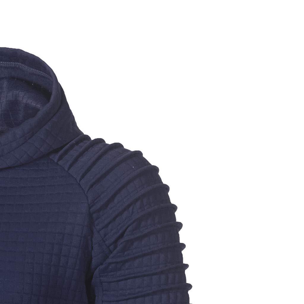 Beautyfine Men's Autumn Hoodie Hooded Sweatshirt Long Sleeve Plaid Top Fashion Tee Outwear Blouse (XXXXX-Large, Navy) by Beautyfine (Image #3)