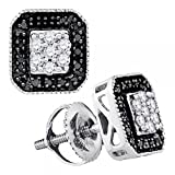 0.25 Carat (ctw) 10k White Gold White & Black Diamond Ladies Fashion Stud Earrings 1/4 CT