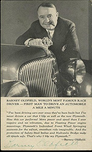1934 Barney Oldfield, Auto Racing Pioneer & Driver, Signed Real Photo Postcard - College Cut Signatures (Drivers Pioneer)