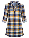 Cestyle Ladies Check Blouses, Women Stylish Cool Loose Fit Lapel Adjustable Sleeves T Shirts Plaid Button Cuffs Dating Club Blue Plaid XX-Large