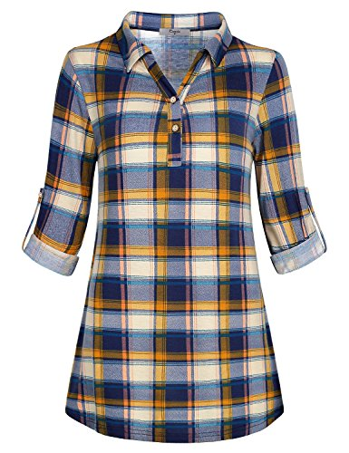 Cestyle Flowy Tunic Top 3/4 Sleeve Misses Petite Wowem Clothing Polo Plaid...